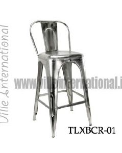 Industrial Vintage Silver Crome Bar Chair