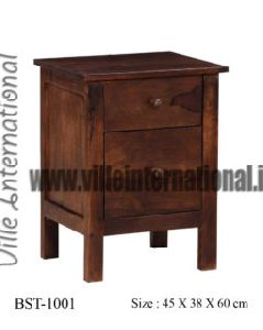 Solid Wooden Bedside Table in Teak Finish