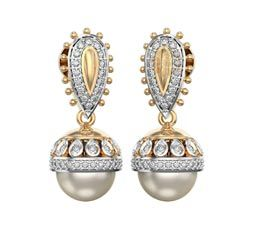 Diamond and Pearl Jhumka Earring