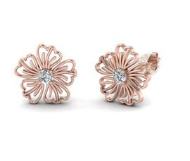 Rose Gold Flower Stud Earring