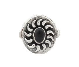 Traditional Black Stone Silver Ring