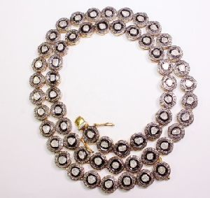 925 silver diamond polki necklace