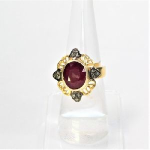 925 SILVER GOLD PLATED RING