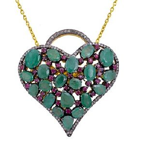 925 Solid silver Emerald Diamond Ruby Handmade pave Setting Gold P