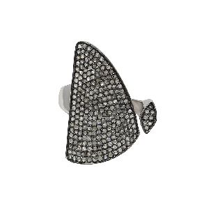 925 solid silver ring with diamond in black rhodium