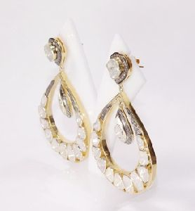Diamond polki 925 silver gold plated black rhodium handmade earring