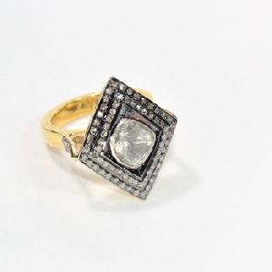 DIAMOND POLKI HANDMADE GOLD PLATED 925 SILVER JEWELRY JEWELLERY RING
