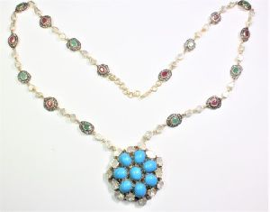 DIAMOND RUBY EMERALD POLKI HANDMADE TURQUOISE Necklaces