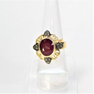 HANDMADE DIAMOND RUBY 925 SILVER GOLD PLATED RING