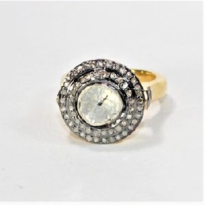SKONI JEWELS DIAMOND POLKI RING HANDMADE 925 SILVER GOLD PLATED RING