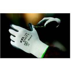 Half Finger White Knitted Gloves