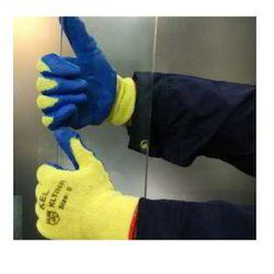 Half Finger Yellow Knitted Gloves