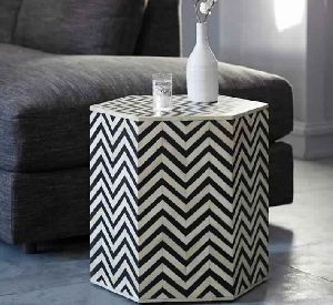 Bone Inlaid Faceted Side Table