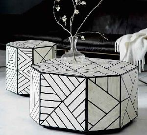 Bone Inlaid Side Table
