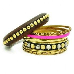 INDIAN BAHATI WOODEN BANGLE SET-GOLD