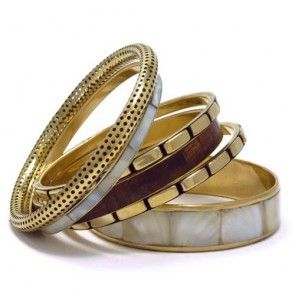 Ivory Shell Wooden Bangle Set