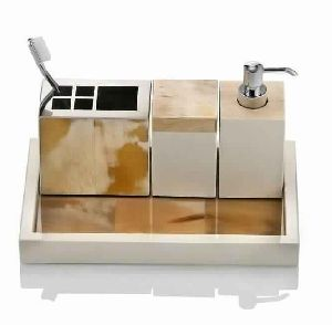 LUXURY PALE POLISHED HORN BATHROOM SET