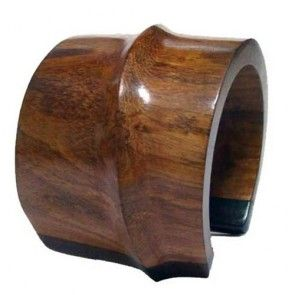 NATURAL GLOSSY WOOD CUFF BRACELET
