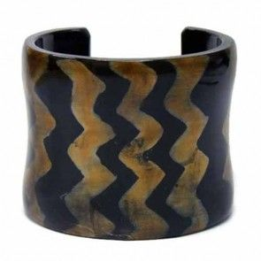 Natural Horn Cuff with Accented Zigzag Design