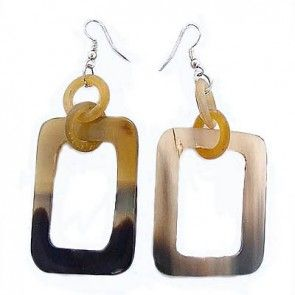 Natural Horn Rectangle Earrings