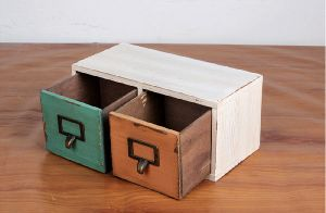 RETRO STYLE WOODEN TABLE STORAGE BOX WITH DRAWER