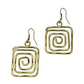 SQUARE SPIRAL METAL EARRINGS