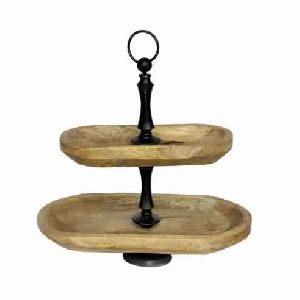 TWO TIERED WOODEN PASTRY CAKE STAND, HEXAGON