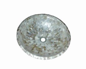 White Mother Of Pearl Rounded Wash Basin