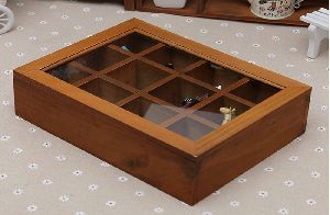 WOODEN JEWELRY STORAGE BOX WITH GLASS