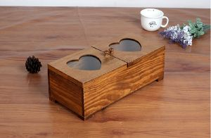 WOODEN TABLE STORAGE BOX WITH HEART-SHAPED