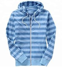 Men's striped zipper up hoodie with pocket
