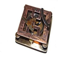 Nautical Brass And copper finish Square sundial compass