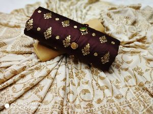 Brown Embroidered Dress Material