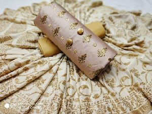 Chikoo Embroidered Dress Material