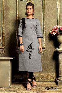 Grey Khadi Cotton Kurti