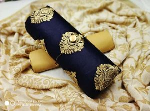 Navy Blue Embroidered Dress Material