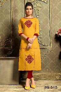 Yellow Khadi Cotton Kurti