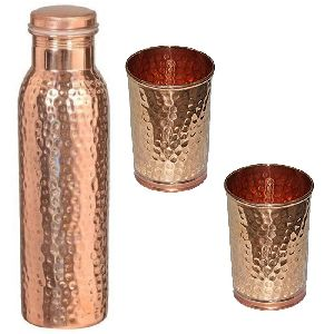 Copper Hammered bottle with 2 glass