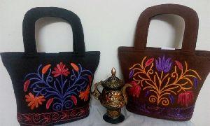 Embroidered Velvet & Sheep Leather Handbag