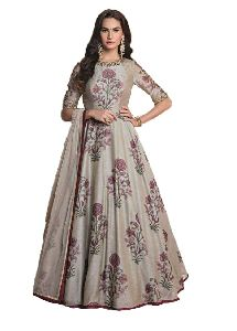 Ladies Party Wear Light Grey Handworked Gown