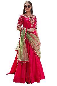 Pink Taffeta Silk Party Wear Suit