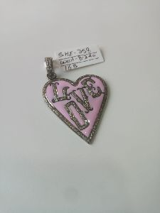 Heart Shaped Silver Stone Pendant