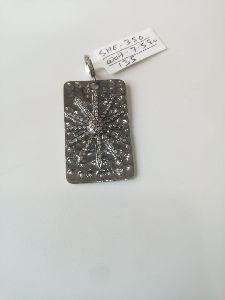 Rectangle Shaped Silver Stone Pendant