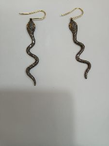 Snake Shaped Silver Stone Earrings