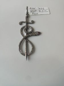 Snake Shaped Silver Stone Pendant