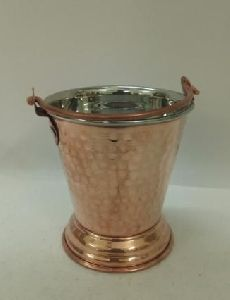 Copper Steel Hammered Daal Bucket