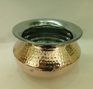 Copper Steel Hammered Punjabi Handi