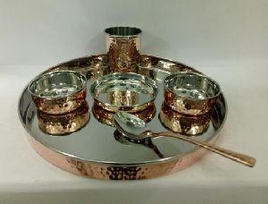 Copper Steel Hammered Thali Set 01