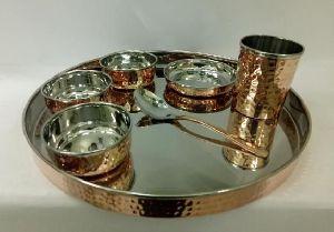 Copper Steel Hammered Thali Set 02