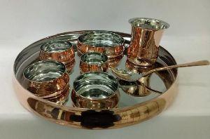 Copper Steel Hammered Thali Set 03